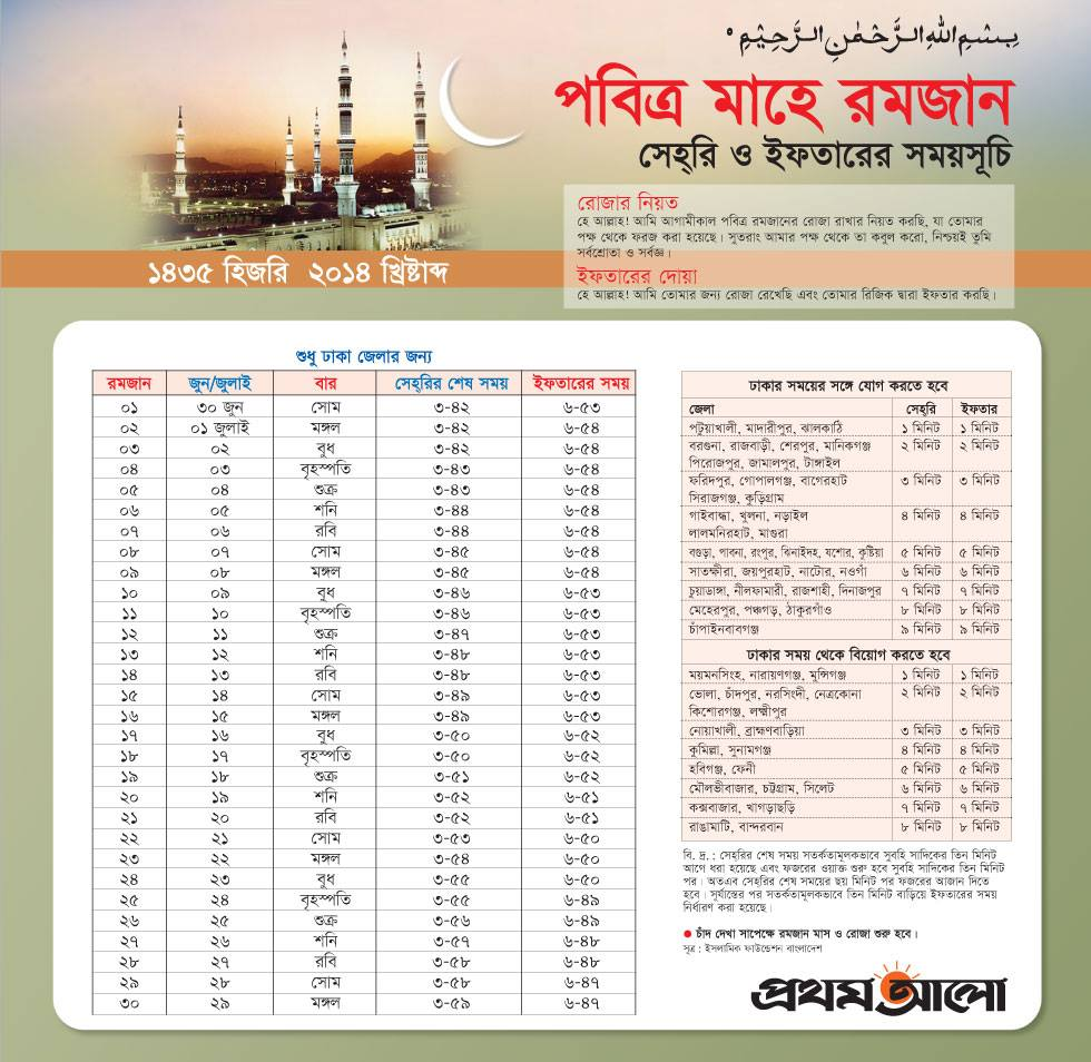 Download this Ramadan Month's Sehri and Iftar Time Schedule in Bangladesh Time BD